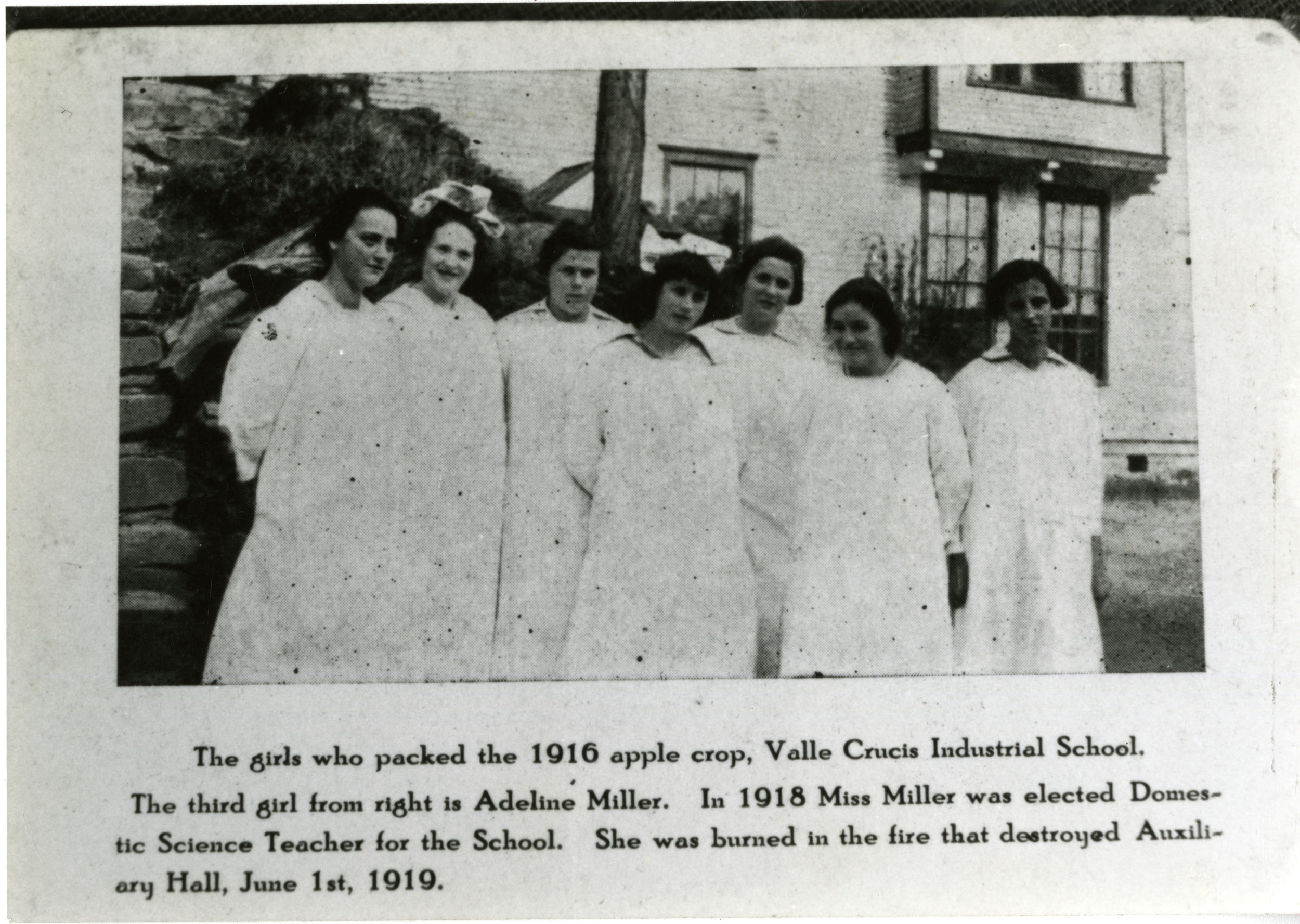 Image taken in 1916 showing Adeline Miller, who perished in the 1919 Auxiliary Hall fire. Image from the Valle Crucis Conference Center Collection (Val-Cru-2-027).