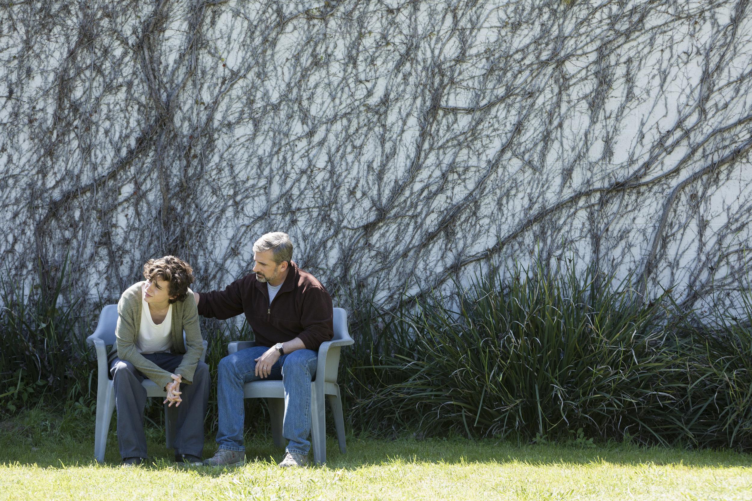 Timoth�e Chalamet as Nic Sheff and Steve Carell as David Scheff star in BEAUTIFUL BOY
