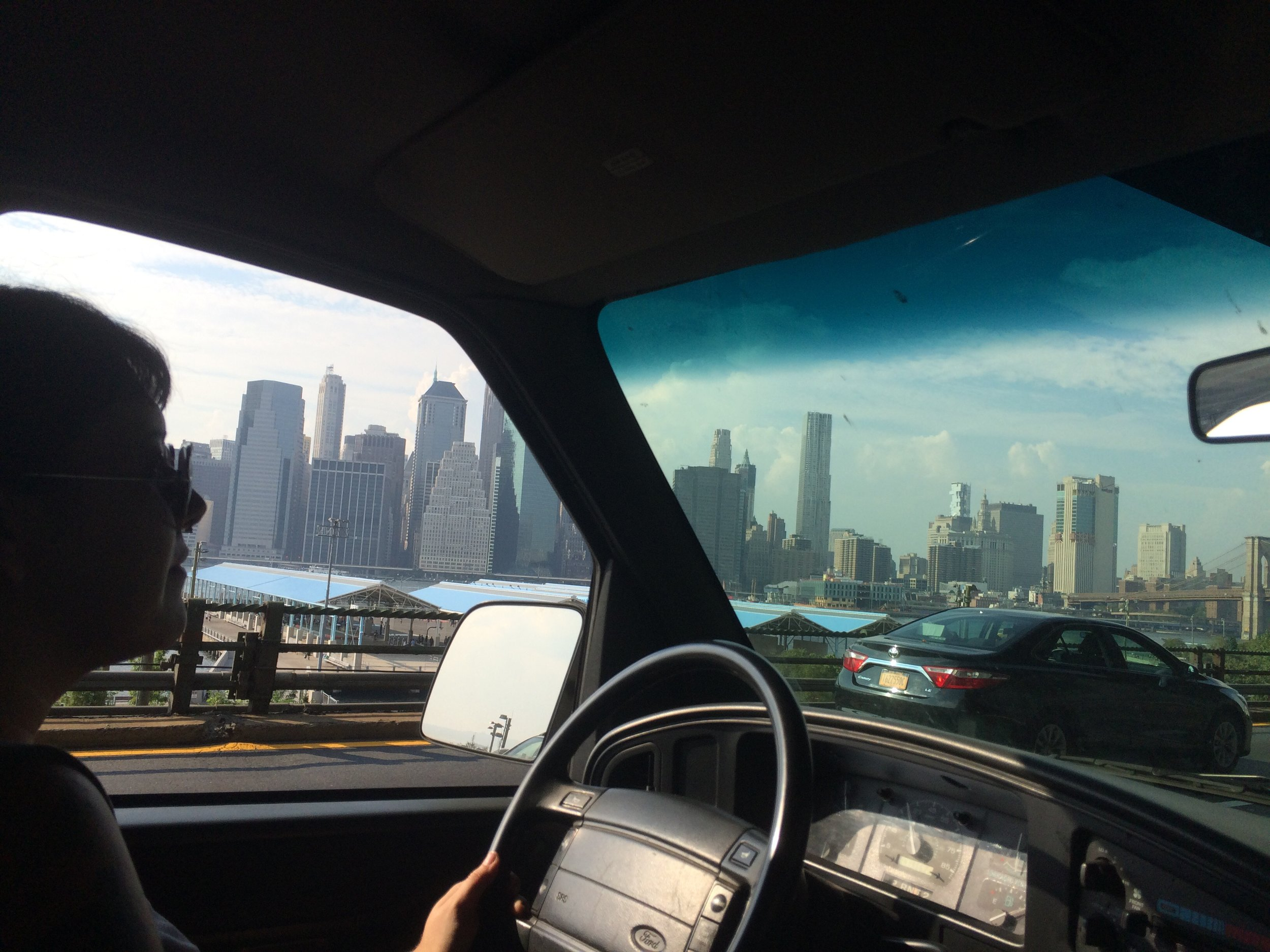 City drivin'. Not in the picture is Rachelle, swearing at honking New Yorkers.