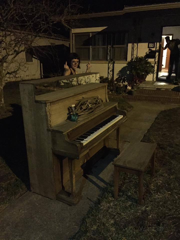 There was a piano in Cole's yard! You can't play it after 2 AM though.