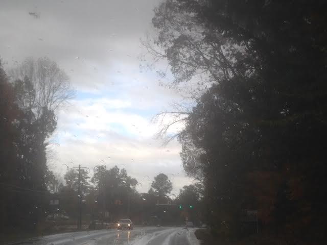 Driving from Virginia to North Carolina in rainy fall.