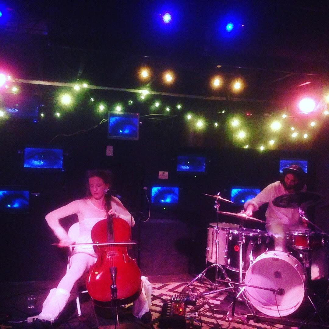 Polly Panic, a cello drum duo based out of NC that we played with a few days ago and will play with again TOMORROW in Asheville