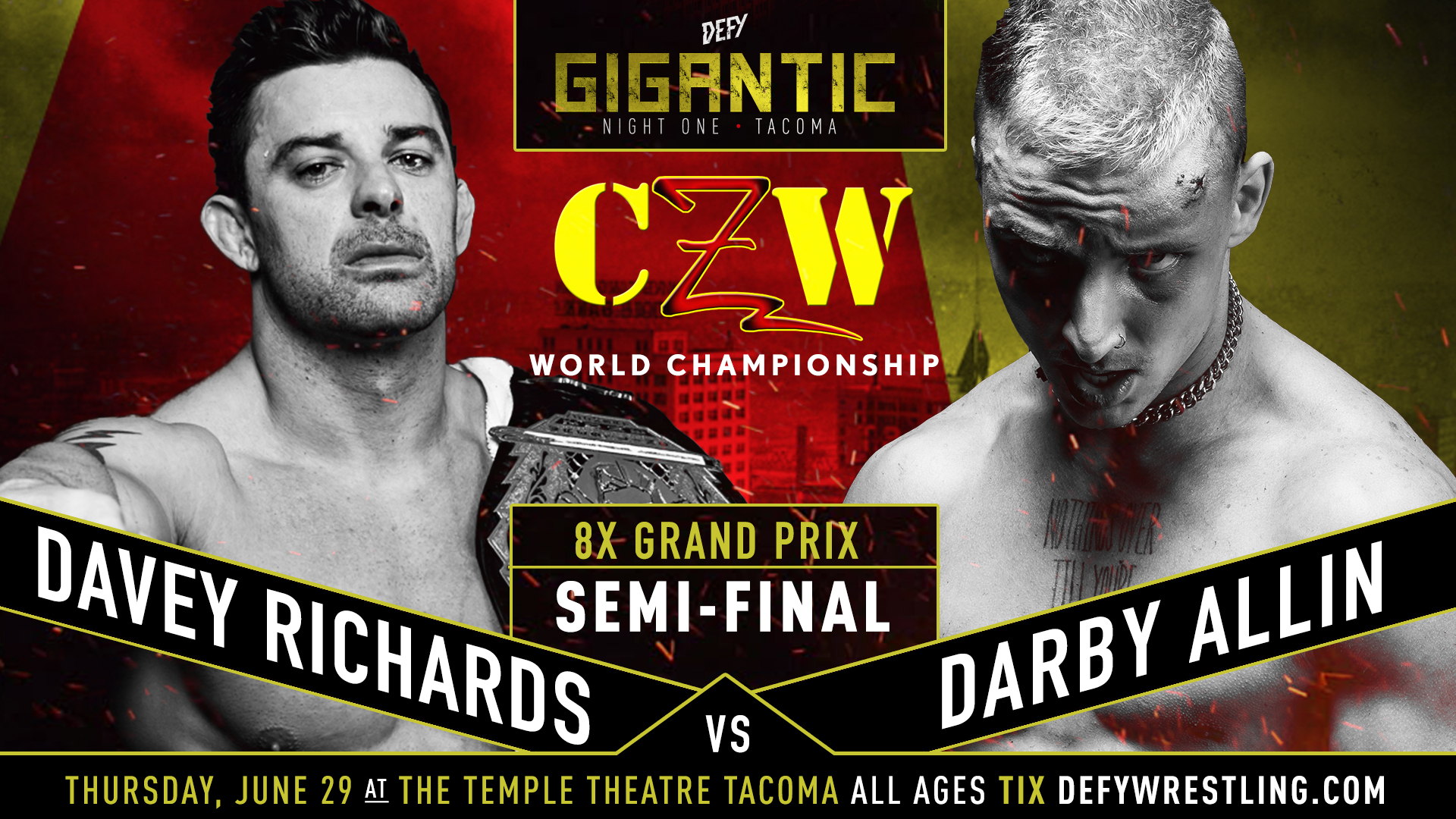 Davey defends his CZW World Championship against Darby Allin at DEFY4 on June 29th in Tacoma. Tickets at DefyWrestling.com