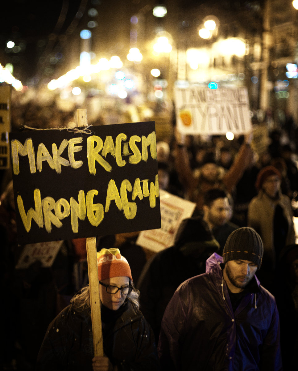 """#1409 - """"Make Racism Wrong Again"""" Inaugural Protest and March. San Francisco, Ca. January 20th, 2017."""