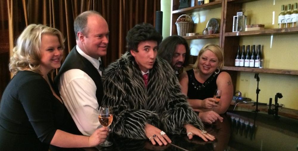 Members of our Dirty Stupid Music 2017 Cast surround Liberace (David Saffert)!