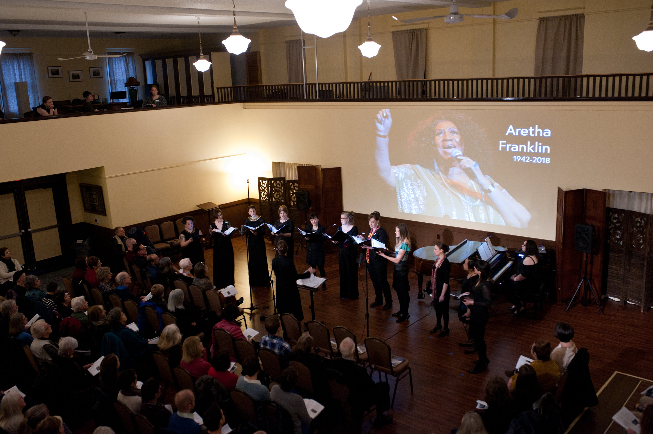 The women of Resonance at Cerimon House for  Women Singing Women , February 2019  (Photo Credit: Rachel Hadiashar)