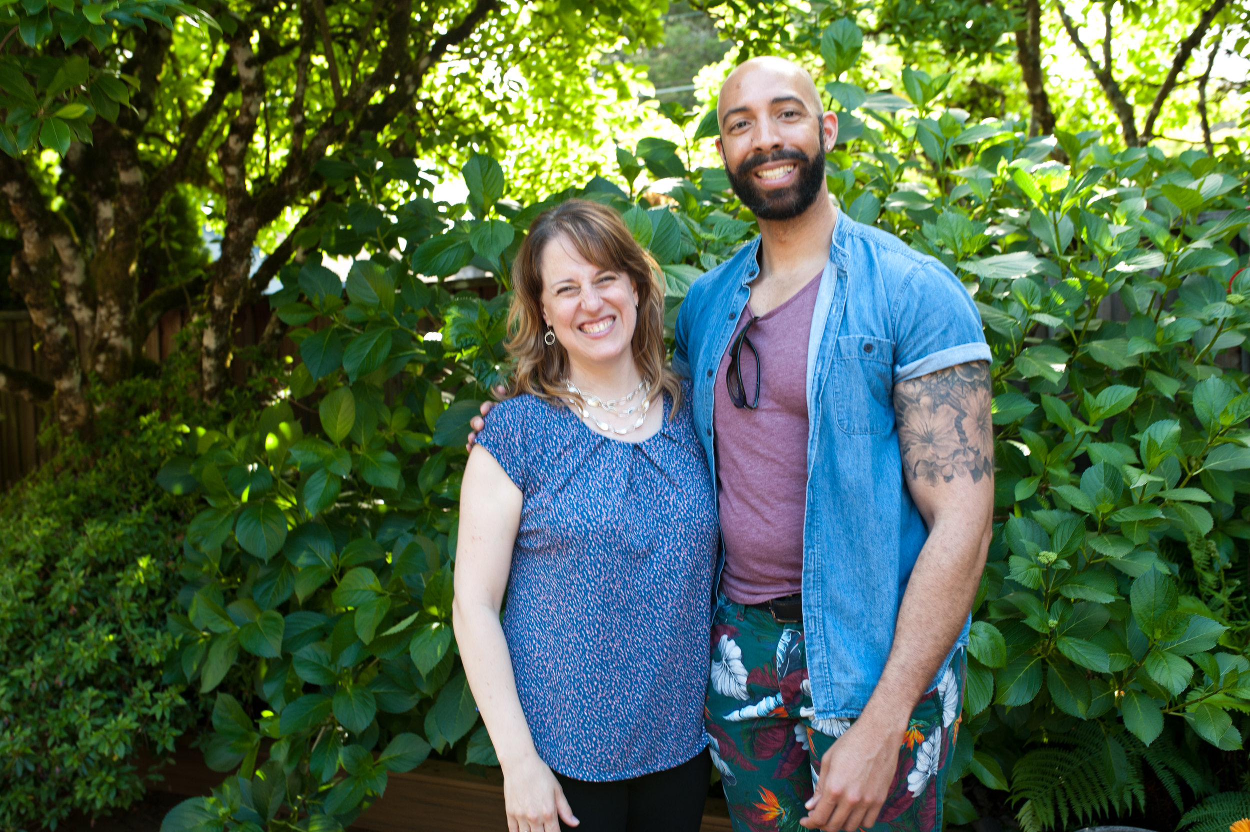 Artistic Director Katherine FitzGibbon and Board Member and composer/artist Damien Geter at a 2018-19 Resonance Gratitude event — June 2019  (Photo Credit: Rachel Hadiashar)