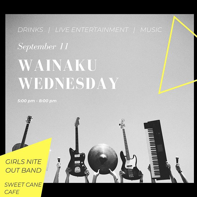 Join us for Wainaku Wednesday tomorrow September 11th from 5p-8p. This is a free event and open to the public! We've got @girlsnite808 with your live entertainment and @sweetcanecafe with delicious and sustainable food for purchase! Come early & carpool as parking is limited!