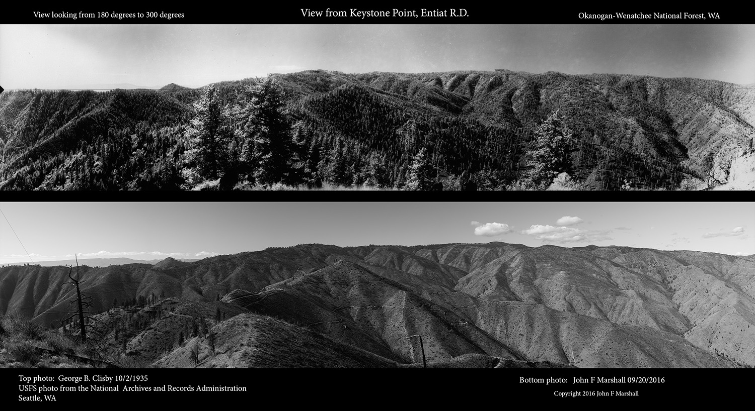 Comparison set of photographs from Keystone Point overlooking Mills Canyon
