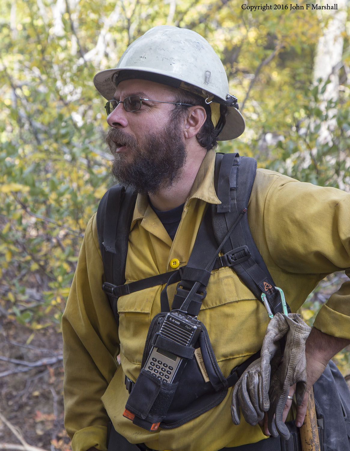 Burn boss, Chelan R.D. Assistant Fire Management Officer (AFMO) Jeff Bouschor.  The clothing, tools and techniques of prescribed fire overlap what is used for fire suppression.