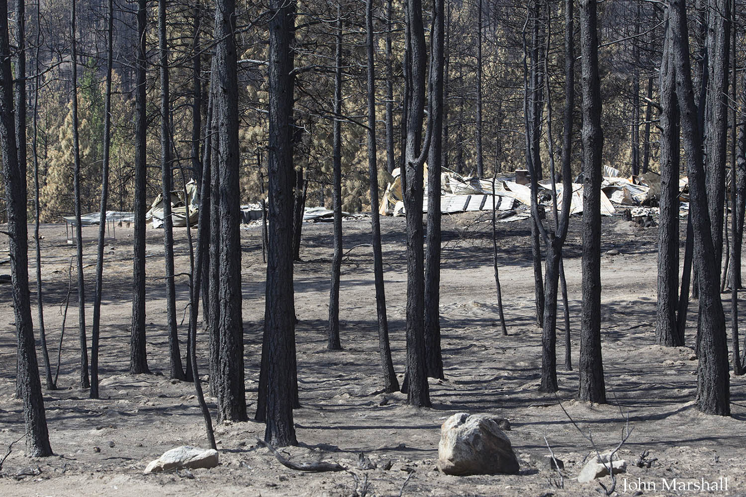 Destruction from Carlton Complex Fire in the French Creek area of the Methow Valley, WA.  Copyright 2014 John F Marshall