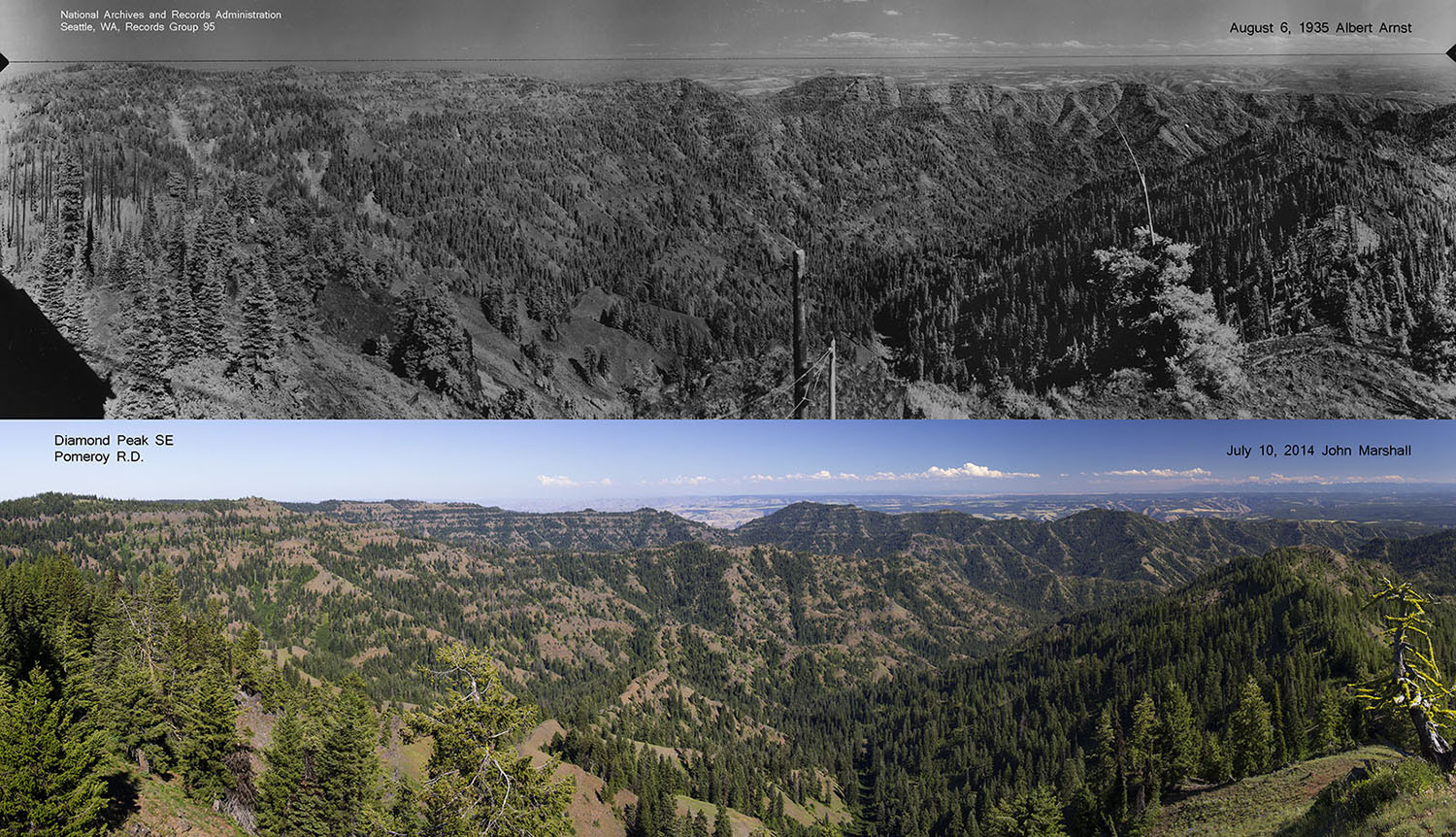 Top photo Albert Arnst 1935 from National Archives and Records Administration, Seattle, WA. Bottom photo 2014 John F Marshall for the Umatilla National Forest.