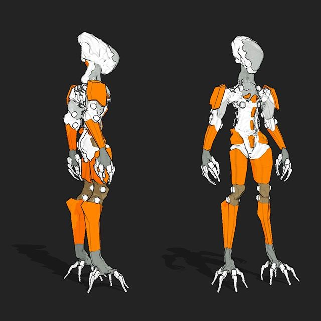 Quick NPR of the 3rd iteration of the robot I am working on in my Pixologic streams, trying out a clinbing foot configuration #ZBrush2019 #conceptdesign, #scifi #Mech #marchofrobots2019 #bandesdessinees #robots #ZBrush #ZBrushLive