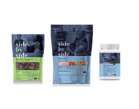 Side by Side - Our pets deserve the very best.They give us love and companionship and depend on us for their quality of life. That's why we start with fresh, whole ingredients such as meat, bones, organs, fruits, vegetables, dairy, grains, eggs, oils, herbs and supplements that are easily digestible, premium nutrition.We believe that by simply changing your pet's diet, you may add years to their lives. Years of running side by side, years of playing side by side, years of cuddling side by side. Years of priceless companionship.Feed love, feed life.