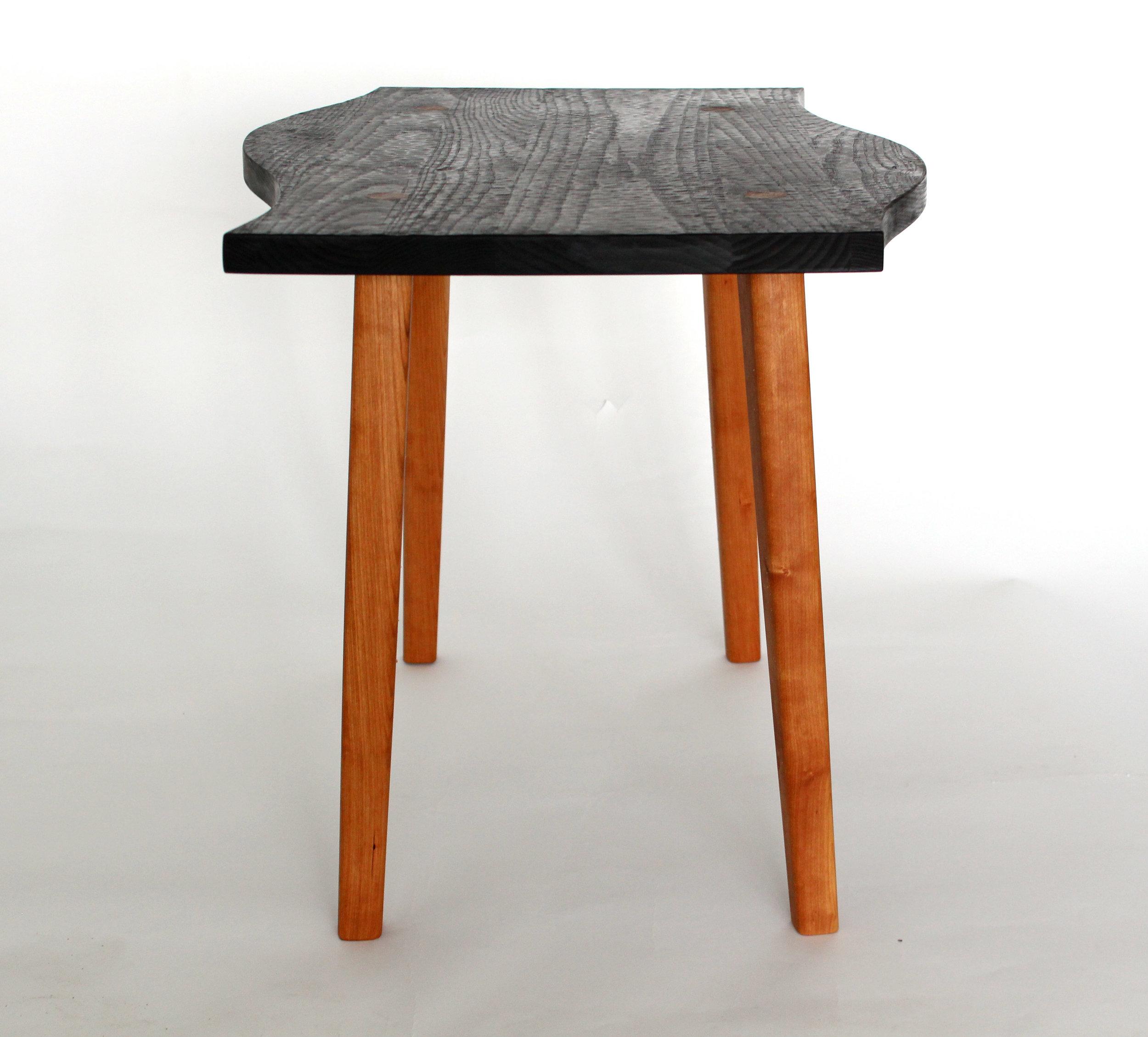 Emma Senft, table, Montréal, custom furniture, mobilier, sur mesure, solid wood, bois, ash, frêne, cerisier, cherry, carved, sculpter à main