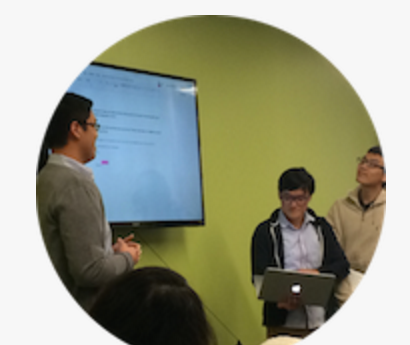Pictured above from left to right: James Vinh (Presenter), Trung Nguyen (Engineer), and Dakuo Wang (Engineer).