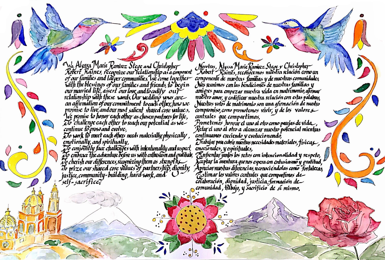 Original watercolor by Jordan Aiken, calligraphy by Yaeli Bronstein