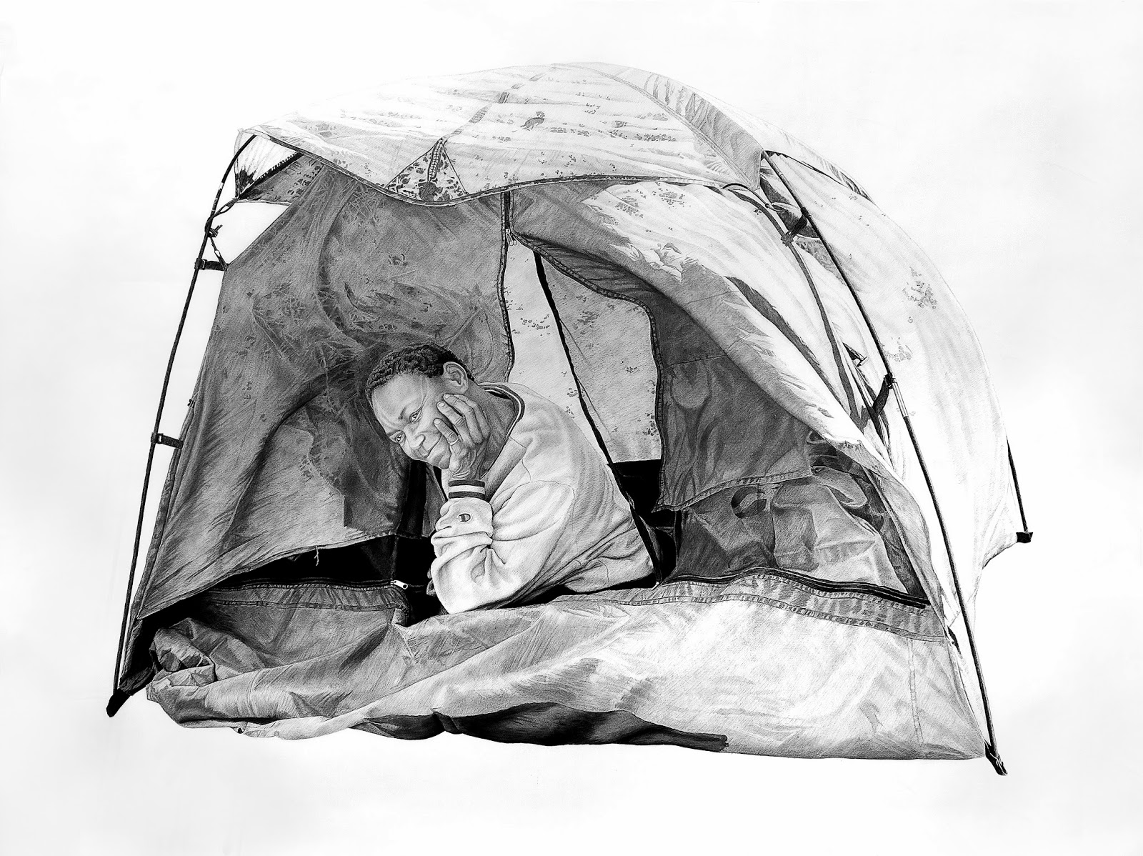 Sam in a Tent | 60x80in | Charcoal and Graphite on Paper | 2013