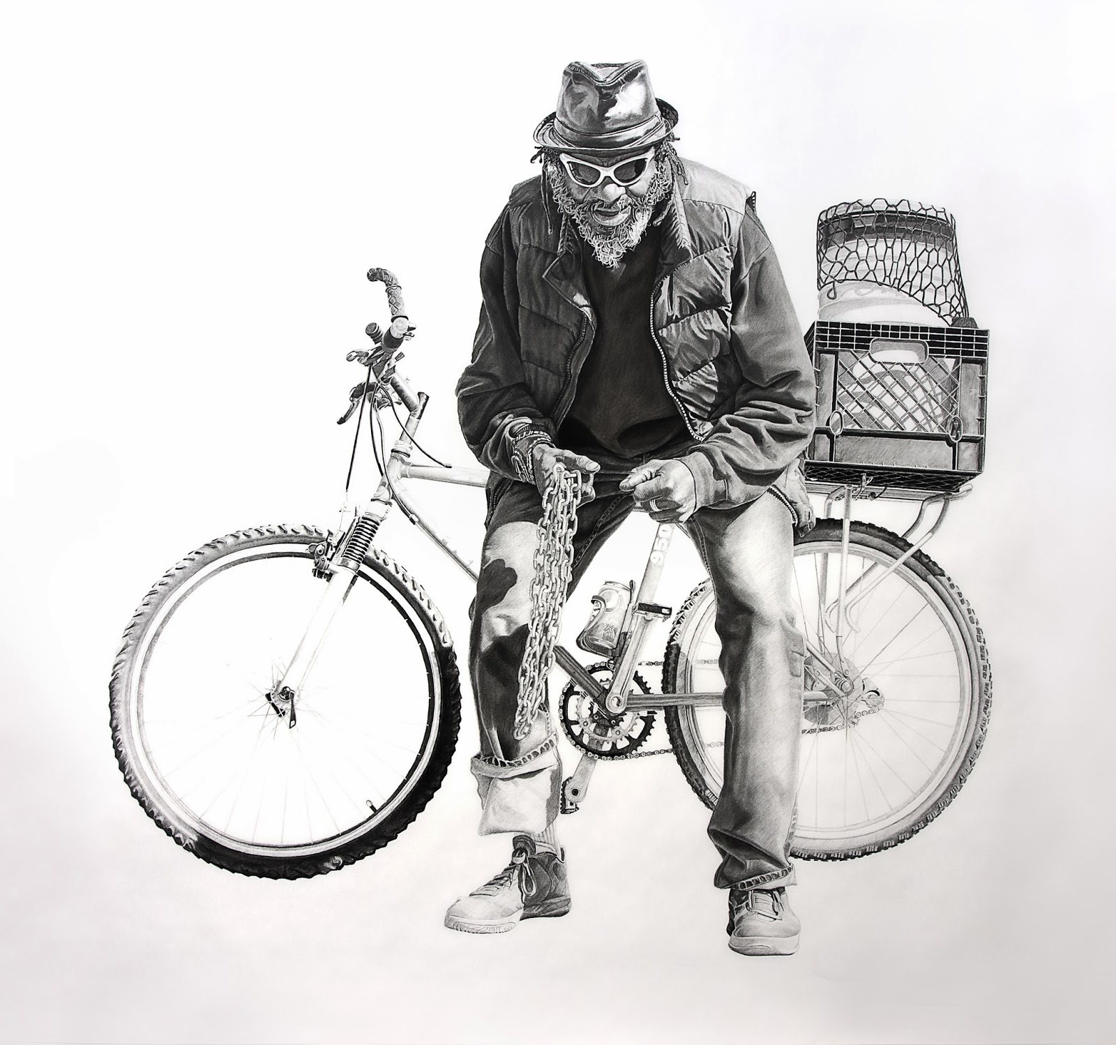 Blue with a Bicycle | 60x65in | Charcoal and Graphite on Paper | 2013