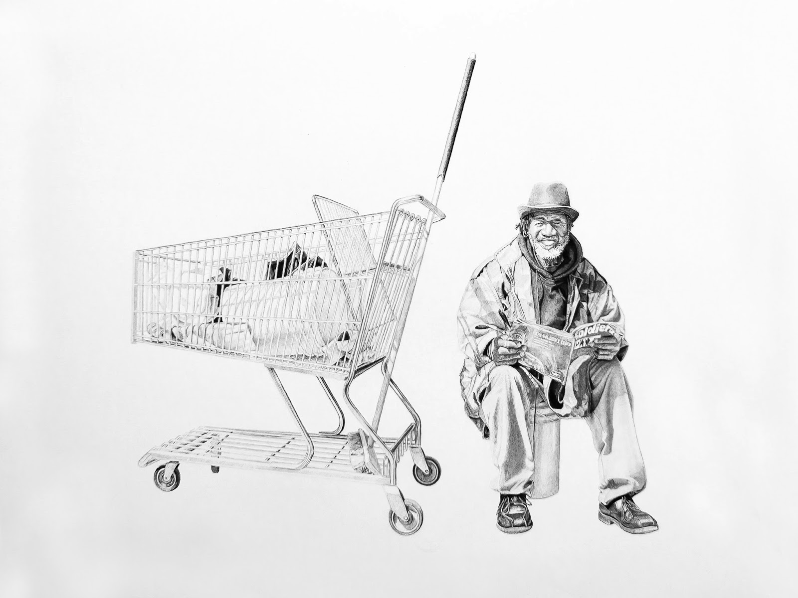 Bernard, Sitting | 16x24in | Charcoal and Graphite on Paper | 2013