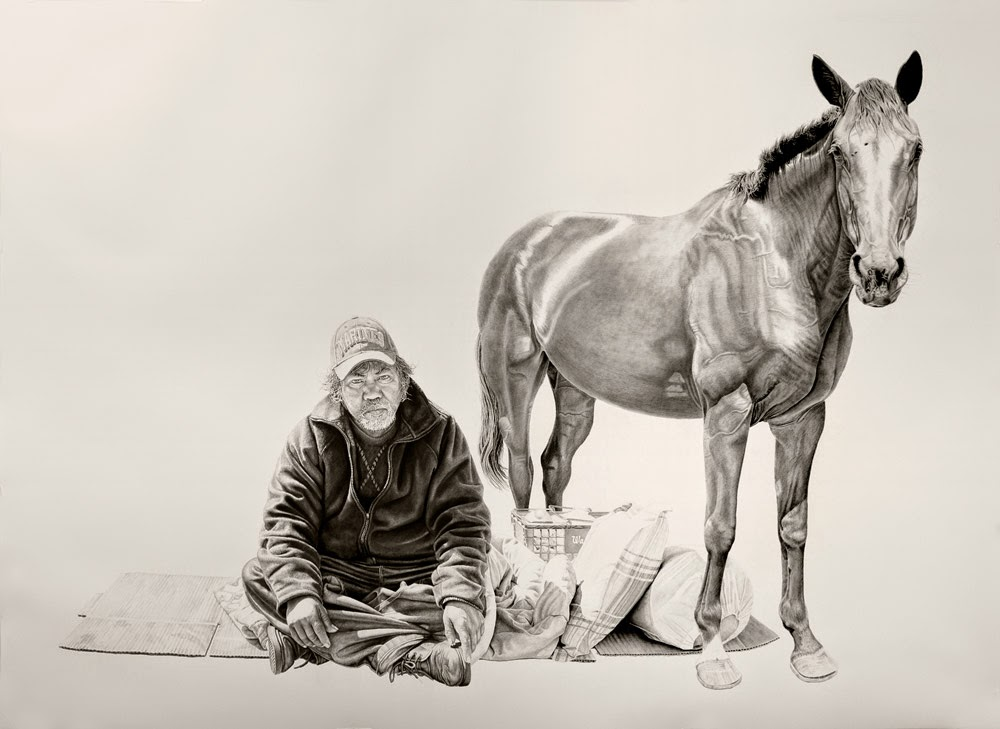 Robert with a Horse. Charcoal and Graphite Drawing on Paper by Joel Daniel Phillips