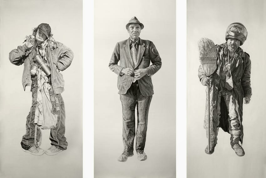 (R to L) Gypsy, Kent and Spaceman O.T. #3 All works 42x94in, Charcoal & Graphite on Paper
