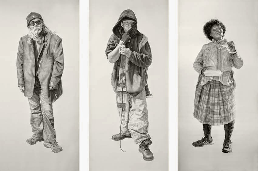 (R to L) Lucky, Maurice and Tinesha. All works 42x94in, Charcoal & Graphite on Paper