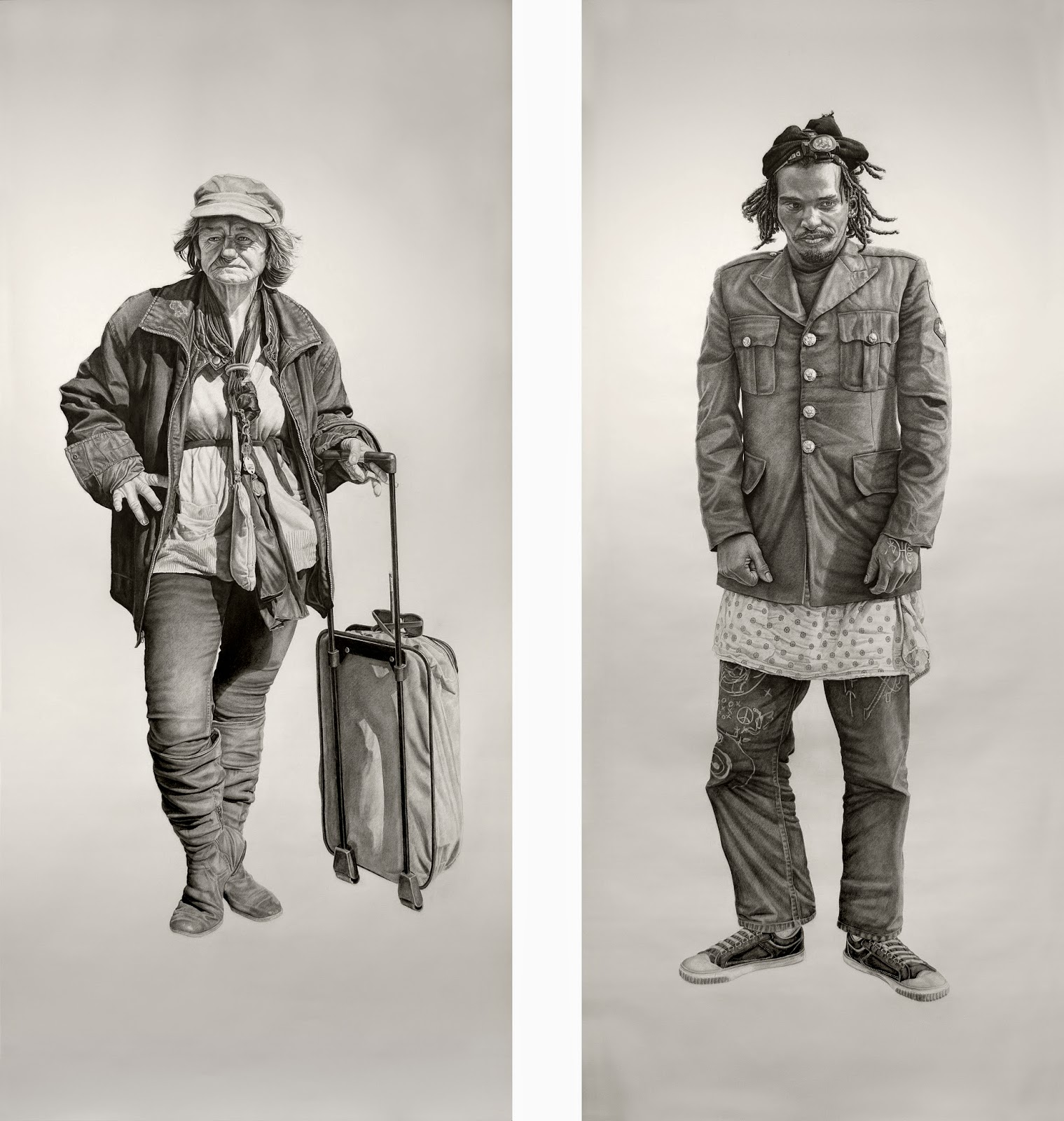 (L) Mommalisa (R) Yogi | Both works 42x94in, Charcoal & Graphite on paper
