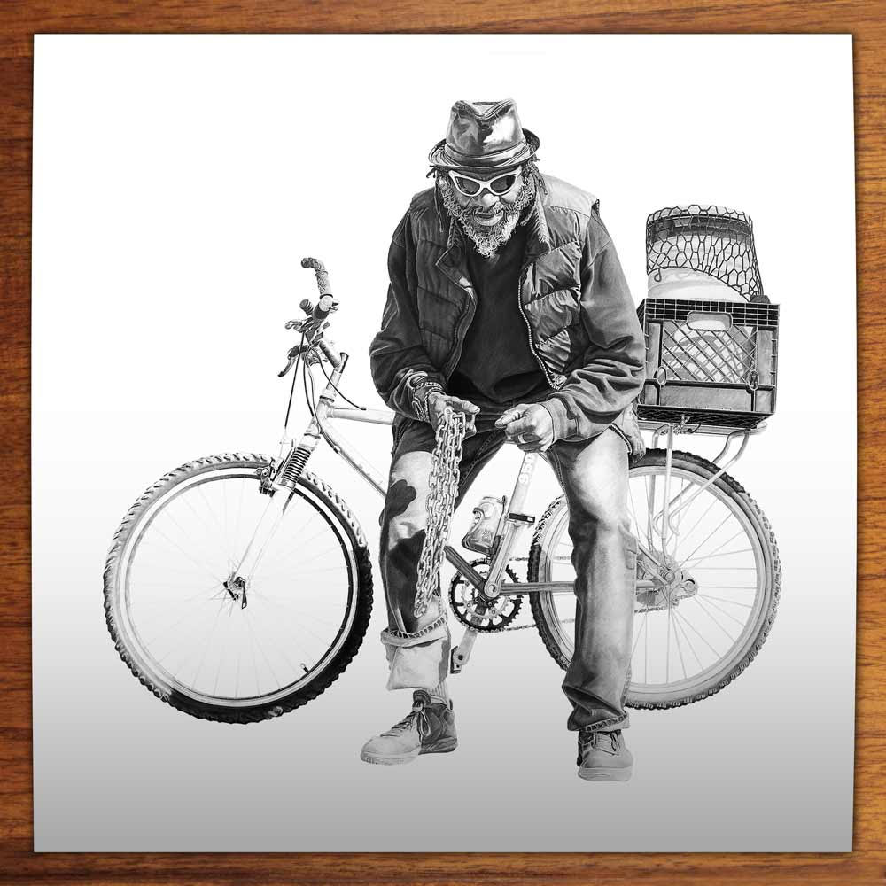 Blue with a Bicycle, 50x50cm, Limited Edition of 50 prints, Printed on Innova Smooth Cotton 315 gsm