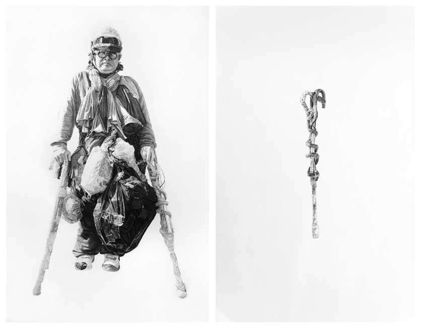 Jack and Jack's Cane, 60x98in each, Charcoal & Graphite on Paper
