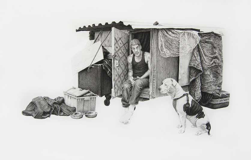 Tennessee & Dale, 23.5x14.5in, Charcoal & Graphite on Paper