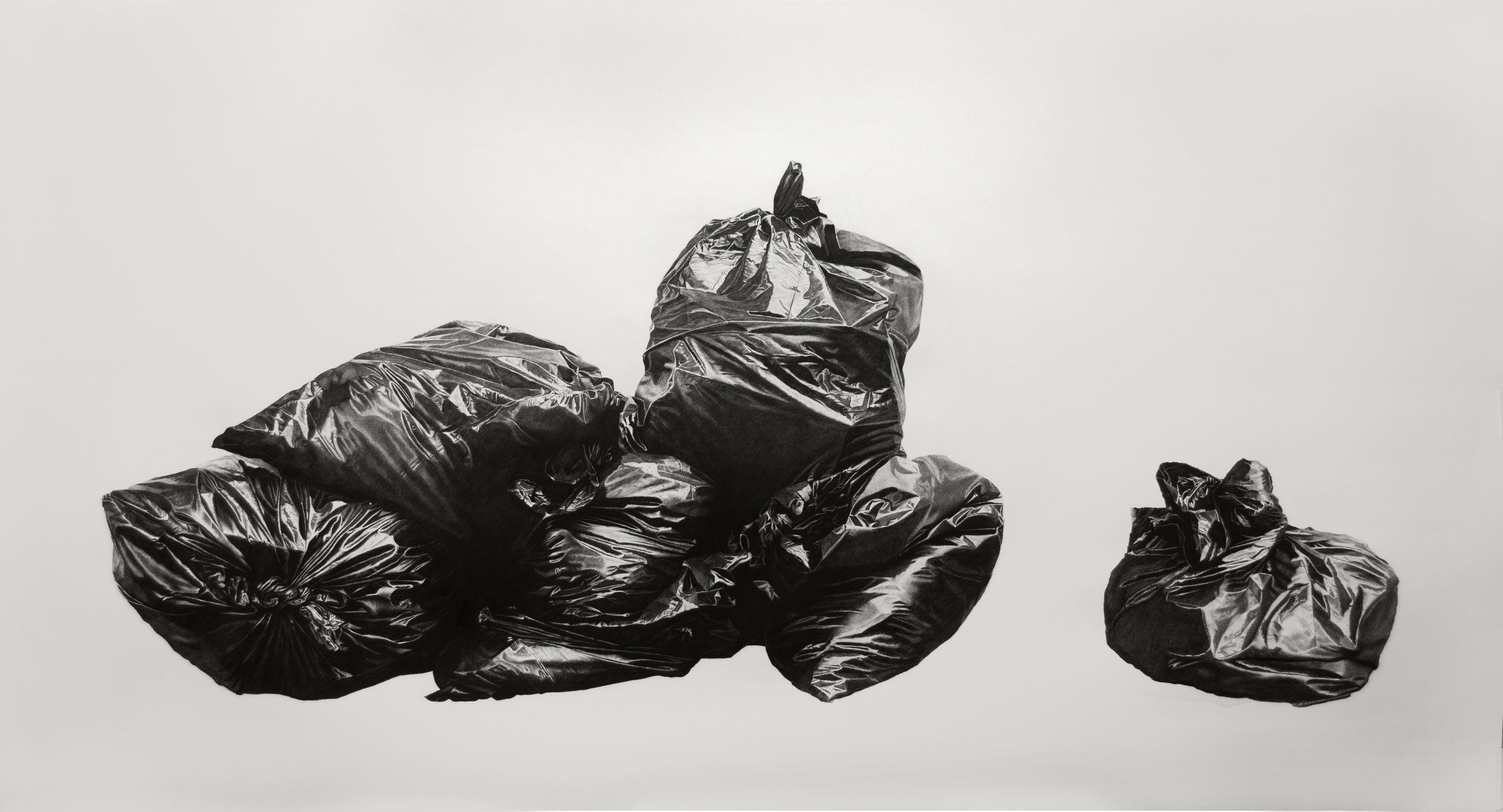 eighborhood Still Life #1, 44x80in, Charcoal & Graphite on Paper