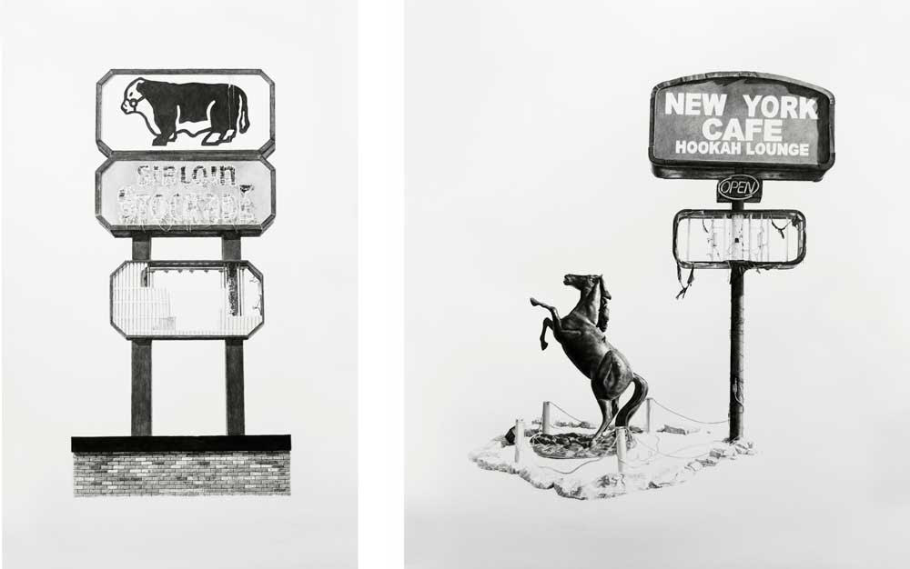 (L) Sirloin Stockade | Charcoal & Graphite on Paper | 27.5in x 44in (R) New York Cafe Hookah Lounge | Charcoal & Graphite on Paper | 39in x 44in