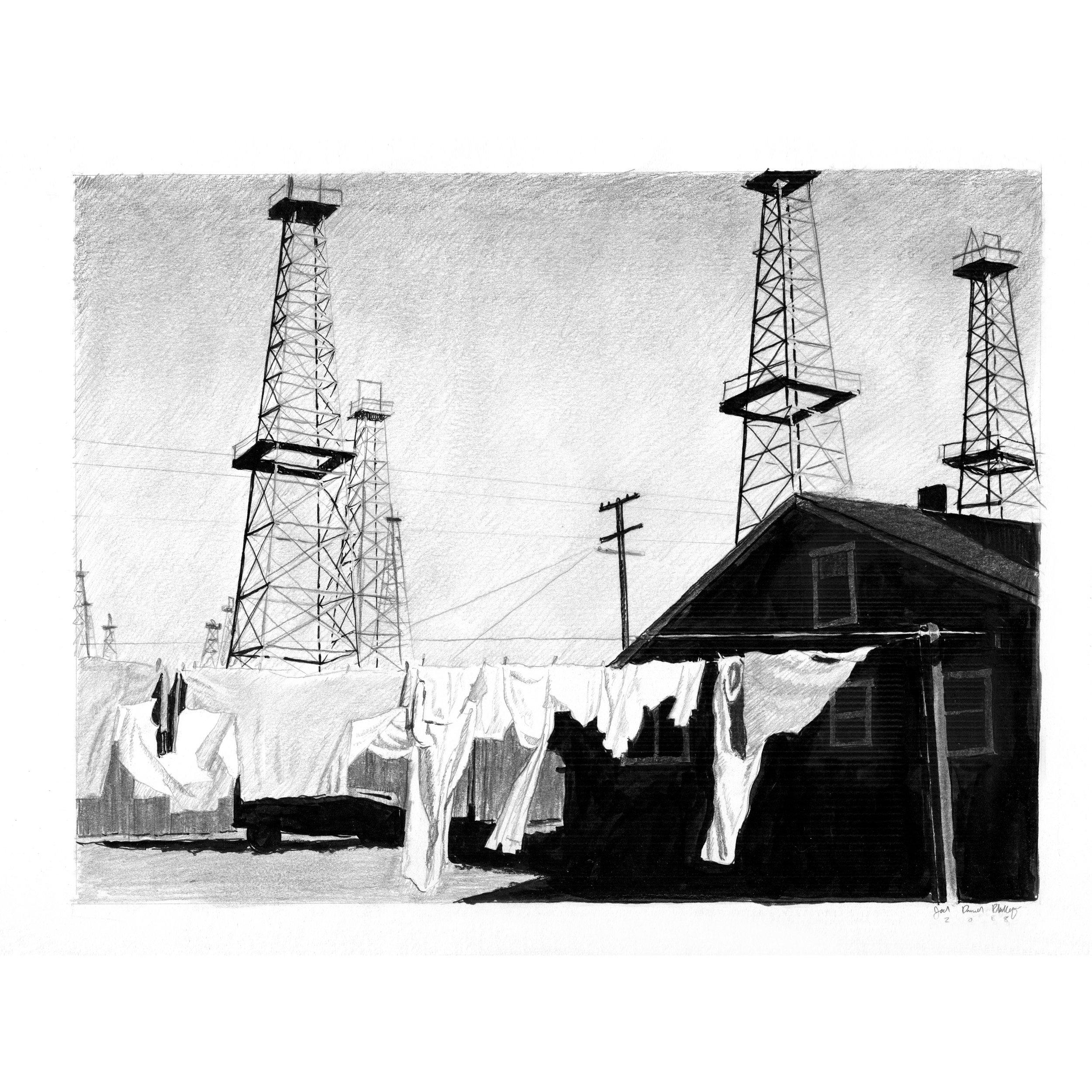Laundry Dries on a Clothesline Near the Venice Oilfield