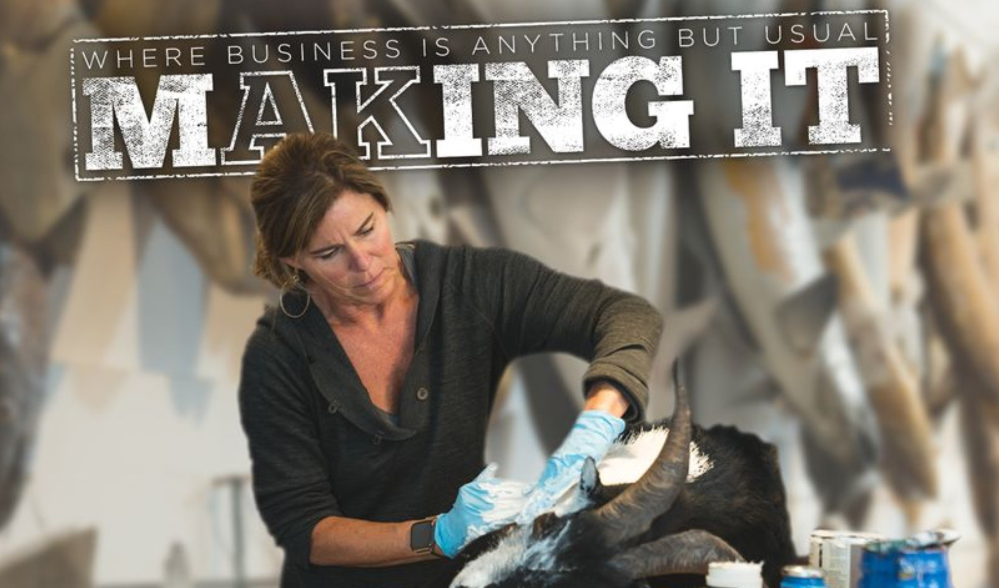 PAINTING DEAD ANIMALS  - Alaskan artist Romney Dodd is blowing up, and First National Bank of Alaska features her with our images.