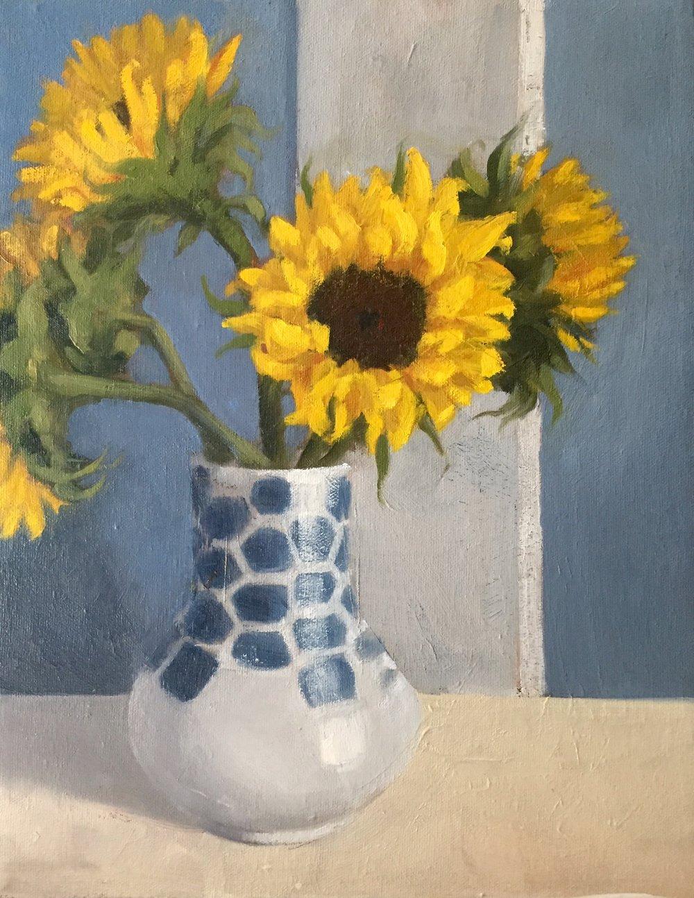 Sunflower Study  11x14 oil on canvas 2018