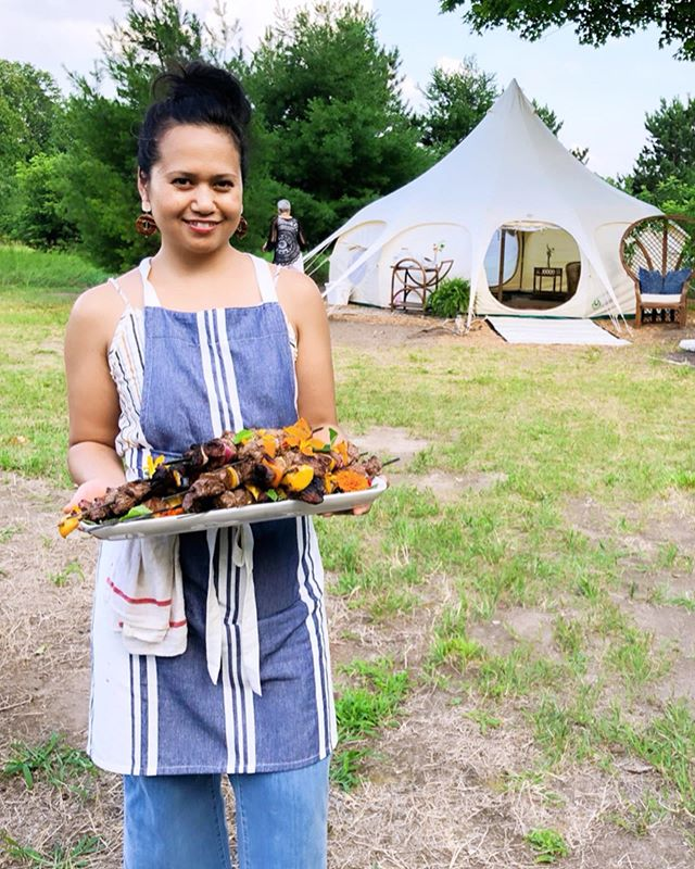 GLAMPING PART 1  I am often plagued by self-doubt, usually accompanied by self-induced anxiety and unnecessary comparison. As I get older, I'm learning to face my fears head on, so when I think I can't do something, that's when I know I should at least try. Life's too short and I want to live it to the fullest, without any regrets.  This past weekend I allowed myself to be put in a situation where I had to learn new skills and face new challenges. I put myself through the fire and came out solid gold— with the help of amazing friends, of course!  I am constantly inspired by you, @mirandacrace. Thank you for always believing in me and giving me opportunities to grow. As I get to know you more and more through our new adventures, @corinnetoussaint & @nataliepatricianoelle, I am emboldened by your passion, drive, laughter, and encouragement. I love our silly moments together!  Work never feels like work when I'm with you ladies and I truly cherish being a part of the @spokeevents team!  Venue: @greatlakesglampingmi  Planning & Design: @spokeevents  Florals: @northwindblooms  Food: @sophduch  Keep an eye out for GLAMPING PT2 with photography by the lovely @justinemontigny.  Also, so proud to serve from some of my fav Detroit farmers: eggplants for the baba ganoush & beets are from @fisheyefarms and edible flowers are from @coriander_det.