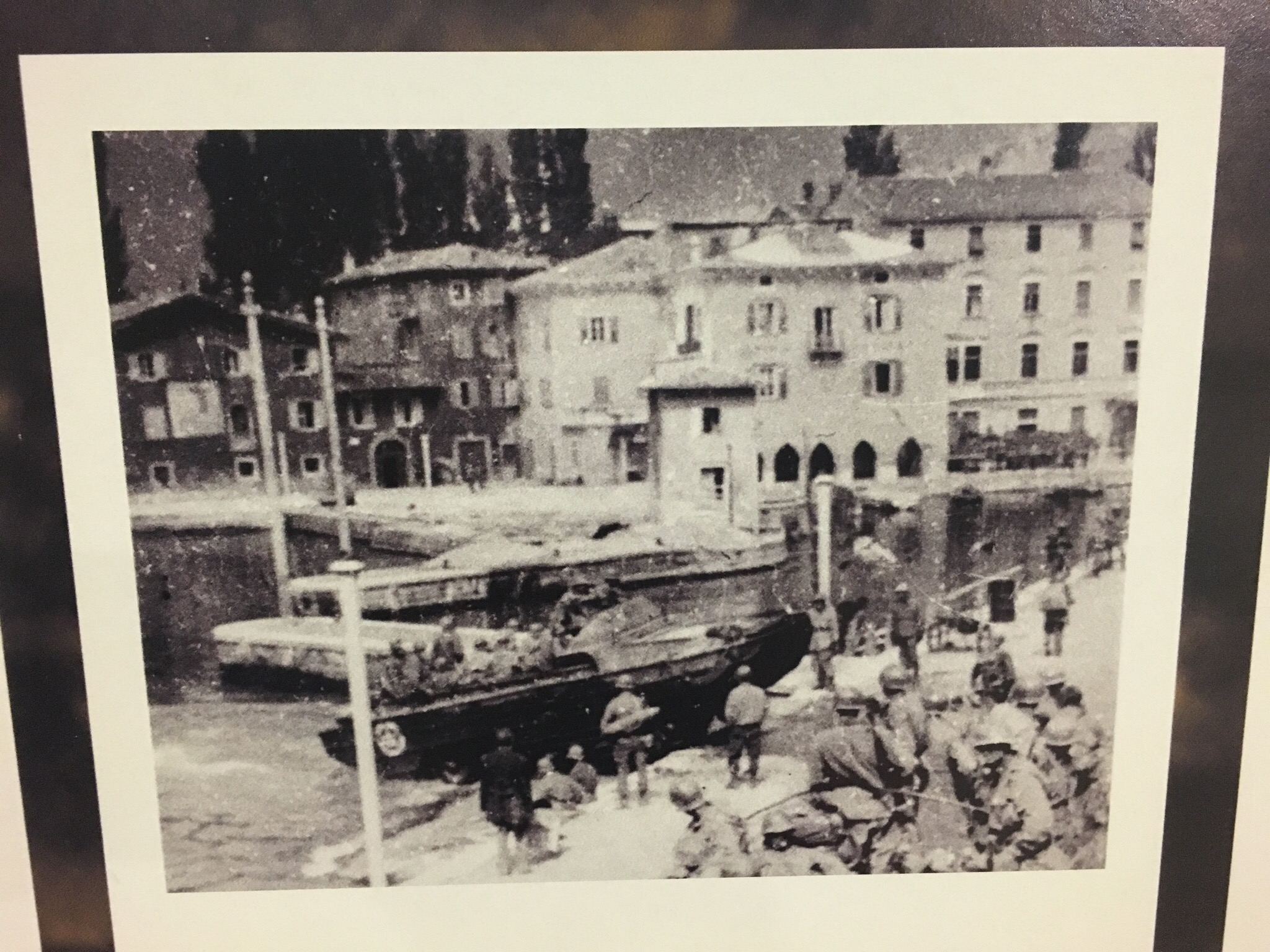 A view of a 10th Mountain Division amphibious landing in Torbole, Italy (Courtesy of the Museum Riva de Garda)