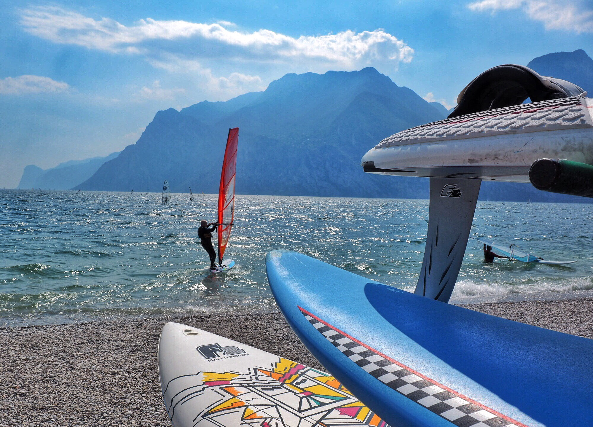 The town of Torbole, Italy, on the north shore of Lake Garda, is a prime windsurfing destination (Photo by Laura Bly)