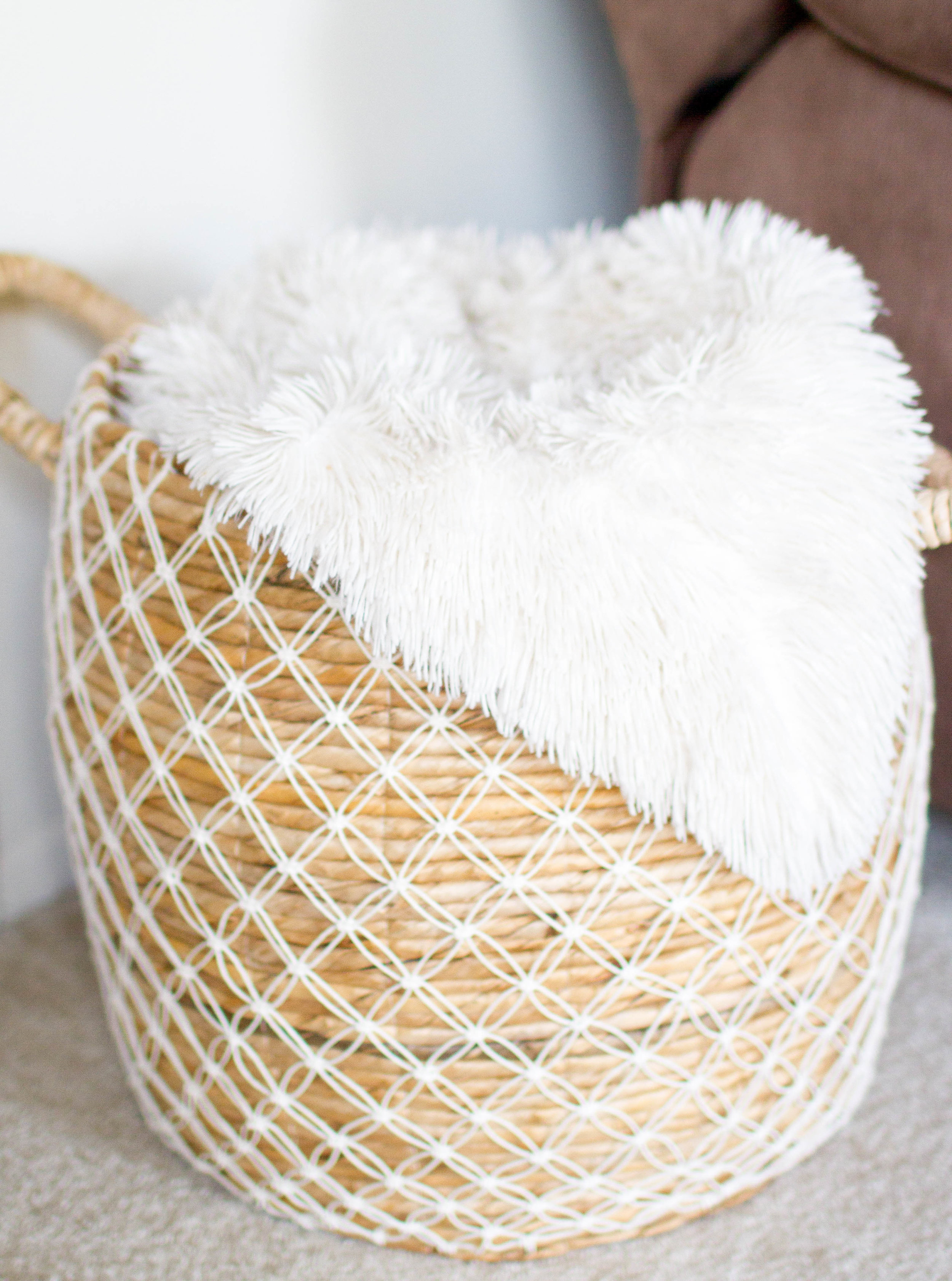 Shop this super fuzzy blanket  HERE    shop similar basket  HERE