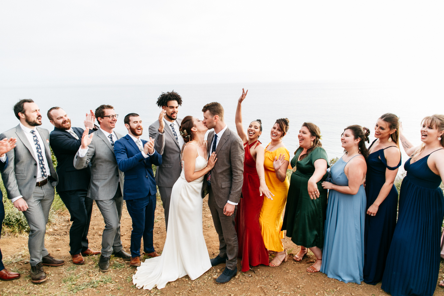 SamErica Studios - colorful multicultural wedding party Malibu