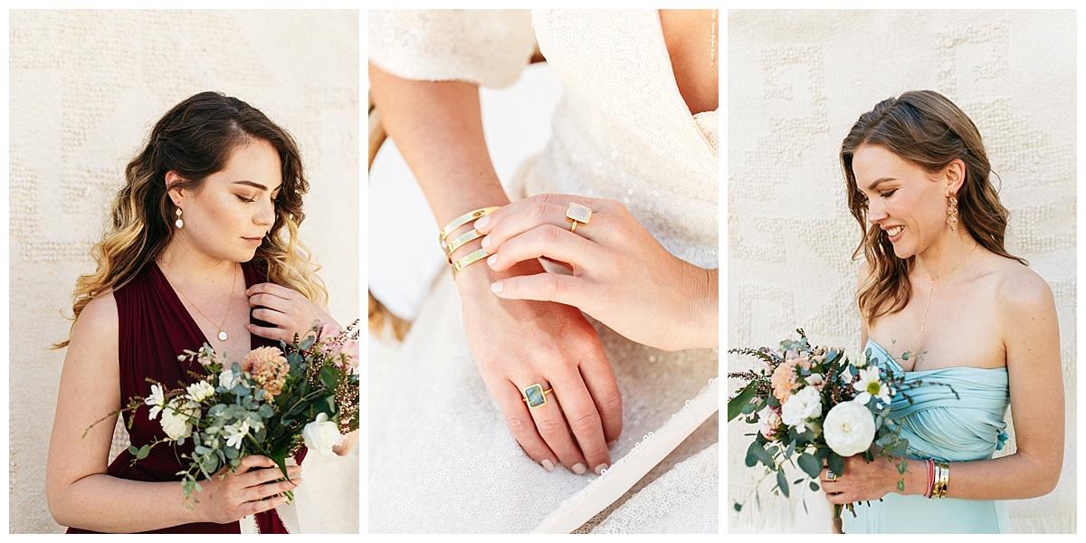SamErica Studios - maroon and teal bridesmaid dresses and minimalist jewelry