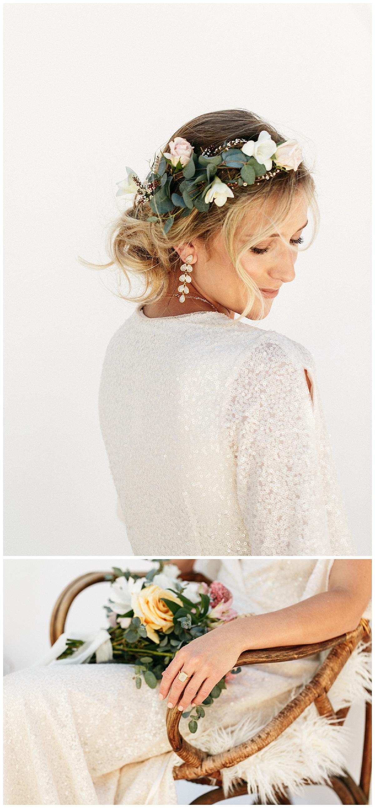 SamErica Studios - modern wedding dress - minimalist wedding jewelry - sparkly wedding dress