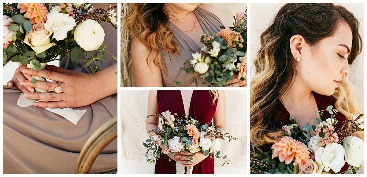 SamErica Studios - maroon taupe burgundy bridesmaid infinity dresses - bridesmaid jewelry
