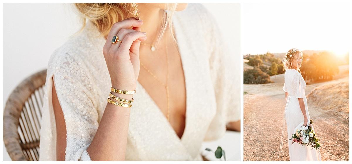 SamErica Studios - minimalist wedding jewelry - boho bride fashion - sparkly wedding dress