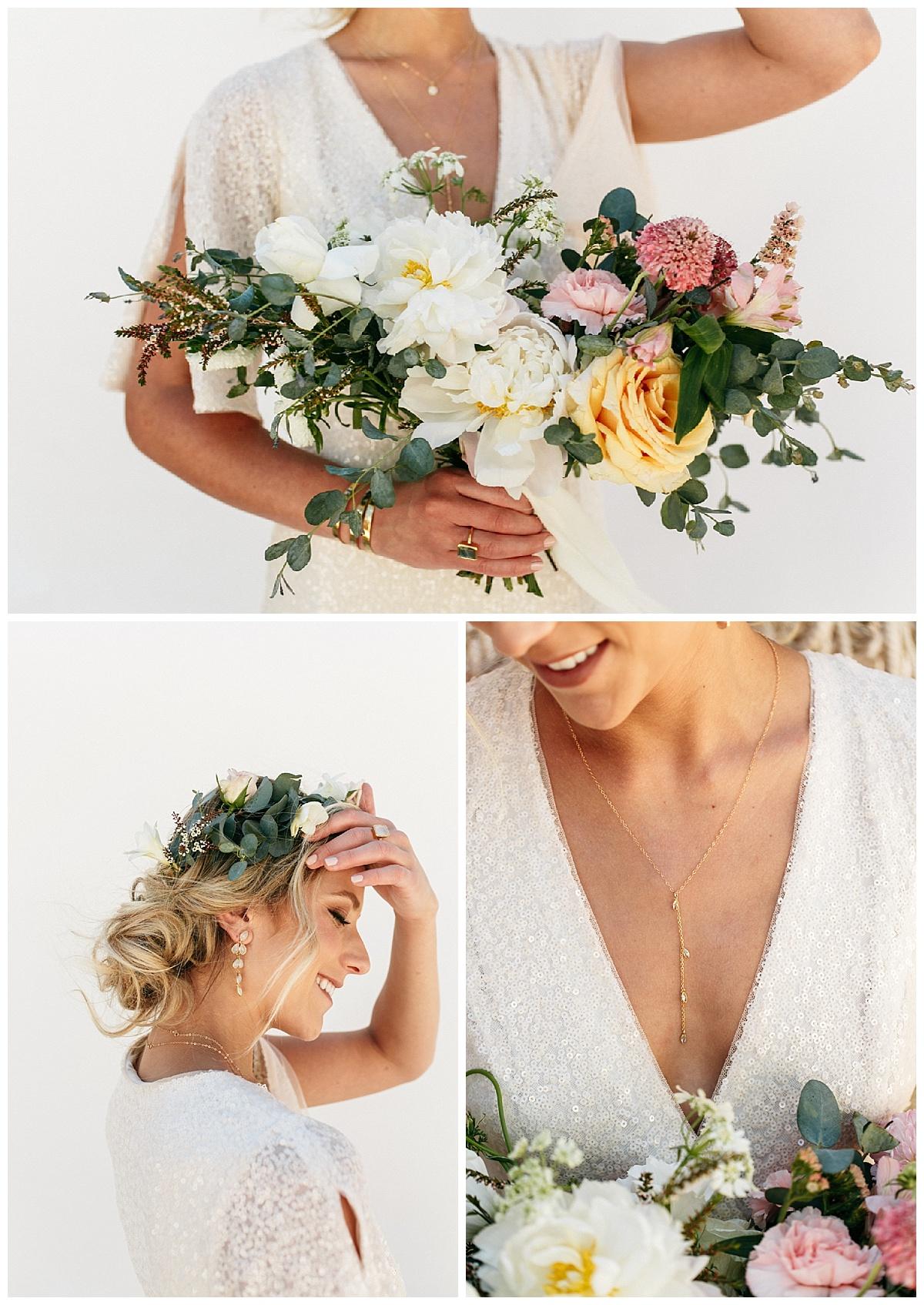 SamErica Studios - modern boho bride - sparkly wedding dress - minimalist bridal jewelry