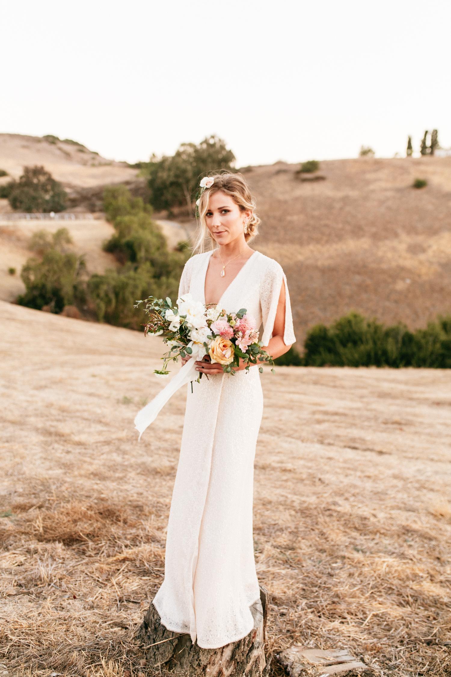 SamErica Studios - modern boho bride portrait - wedding floral crown - san diego wedding photographer