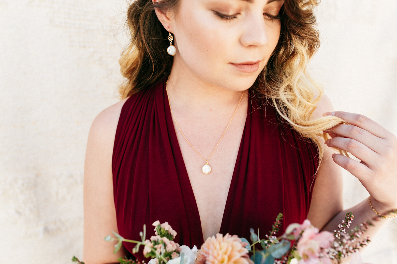 SamErica Studios - maroon burgundy bridesmaid dress - minimalist wedding jewelry