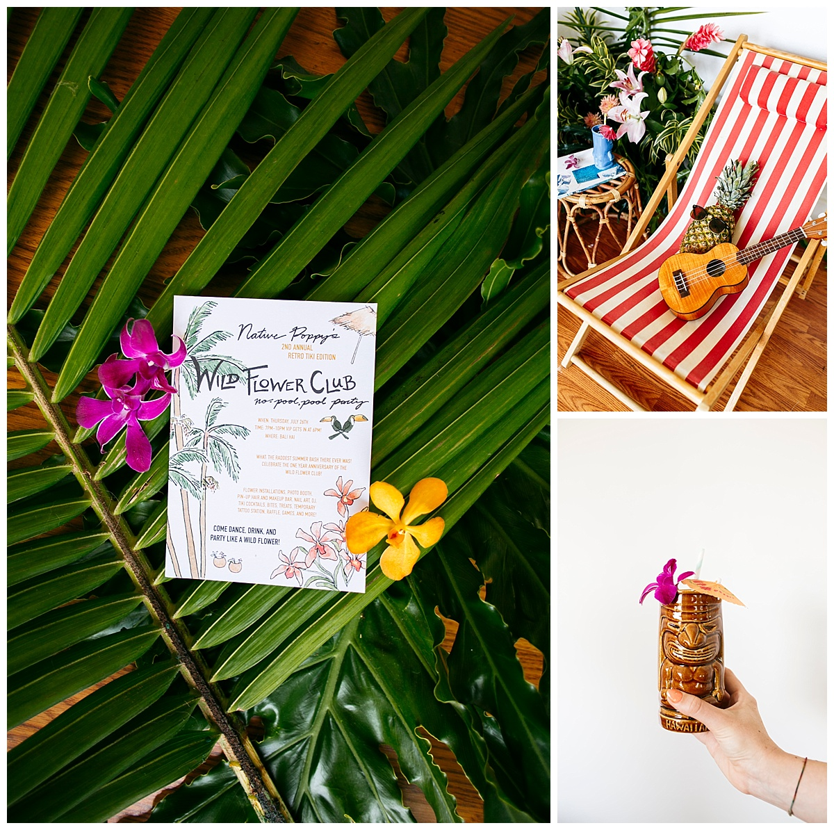 SamErica Studios - San Diego Lifestyle Branding Photographer - Native Poppy Tropical Pool Party - tropical flowers