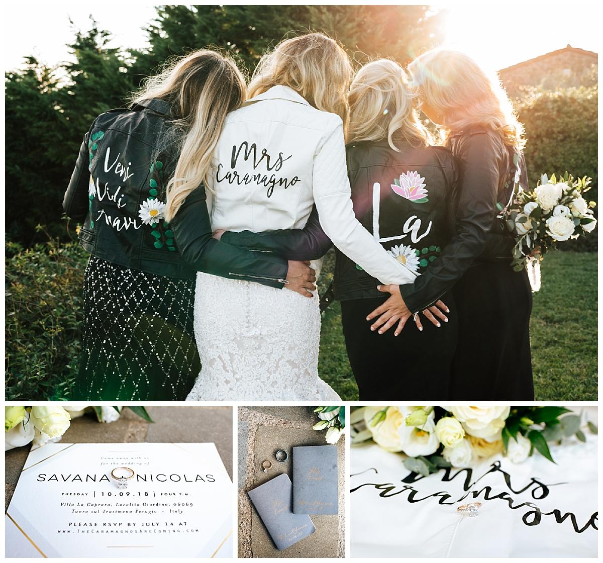 SamErica Studios - Cortona Italy Wedding -  Modern Destination Wedding photographers - leather bridesmaids jackets